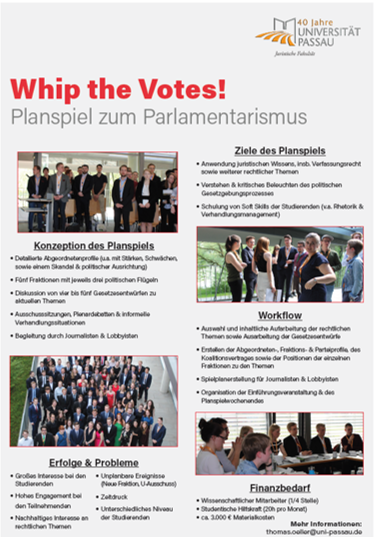 Poster Planspiel Whip the Votes